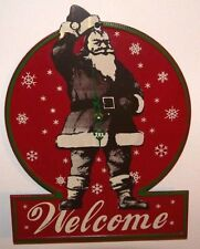Santa Welcome Tin Sign Clock In Great Condition