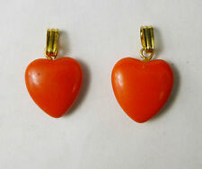 Lot of 2 Spectacular Pink / Red Coral 15mm  Heart Shaped Pendants USA Seller A2