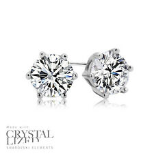 PURE Swarovski Elements Crystal 18-KRGP White Gold Plated Wedding Stud Earrings