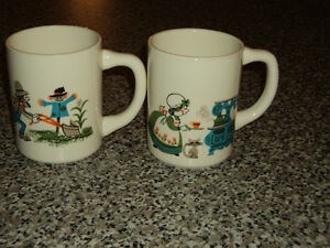 2 Vintage Mugs , Ceramic made in the USA Pa mowing the lawn, Ma cooking