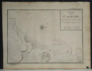 SANTA MARTA BAY COLOMBIA 1725 ANONYMOUS UNUSUAL ANTIQUE COPPER ENGRAVED MAP