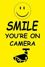 SMILE YOU'RE ON CAMERA ALUMINUM METAL 8x12 security sign