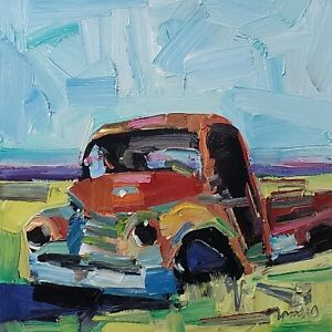 JOSE TRUJILLO Oil Painting IMPRESSIONISM 12X12 ABANDONED VINTAGE TRUCK OLD NR