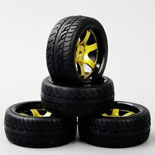 4Pcs RC Tyre&12mm Hex Wheel Rim D6NKG+PP0150 For HSP HPI 1:10 On-Road Racing Car