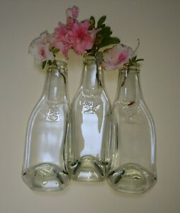 Recycled bottle Glass vase, 3 flat bottles, melted bottle,
