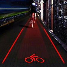 2 Laser+5 LED Flashing Rear Bike Bicycle Tail Light Lamp Beam Safety Warning EO