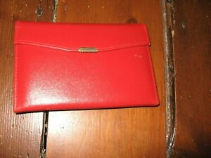 VINTAGE MANICURE SET REAL LEATHER RED CASE 9 ITEMS NEVER USED 1960'S