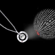 100 Languages Light I Love You Projection Pendant Necklace Lover Jewelry Gifts