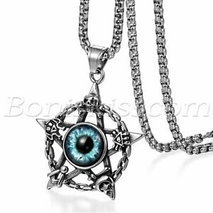 Men's Vintage Stainless Steel Hollow Pentacle Evil's Eye Pendant Necklace Chain