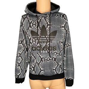 Adidas Originals Snake Print Hoodie Ladies Womens Black Grey Size 10
