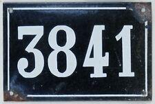 Large old black French house number 3841 door gate plate enamel metal sign