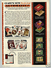 1930 PAPER AD 4 PG Clark's Automatic Cigarette Lighter Art Deco COLOR Firefly