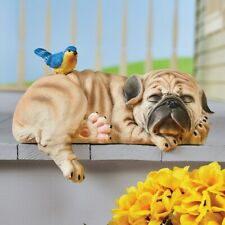 Adorable Sleeping Pug Puppy Dog w/ Bluebird Shelf Step Sitter Garden Statue