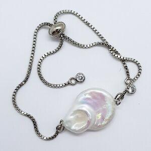 Big Baroque Pearl Real Adjustable Bracelet 18k Gold Filled Natural Pearls Gift