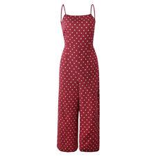 Womens Polka Dot Jumpsuit Romper Playsuit Clubwear Bodycon Wide Leg Pants Outfit