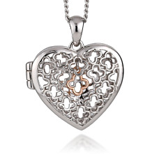 Clogau Silver Locket Sterling 22'' 925 Heart Tudor Court Welsh 9ct Rose Gold NEW
