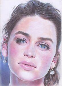 Emilia Clarke ART PENCIL DRAWING A4