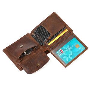 Vintage Men Genuine Leather Bifold Credit Card RFID Blocking Wallet Coin Purse