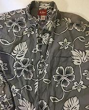 PAUL HANA HAWAII PRINT GRAY WHITE BLACK FLOWER PRINT SHIRT SIZE 3 XXXL RN 125778