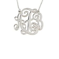 XSmall Monogram Necklace Silver Split Personalized Initial Pendant - oNecklace ®