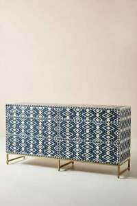 Bone Inlay Commode Chest of 6 Drawers Ikkat in Navy Blue For Home Decoration