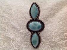 Navajo A. Johnson Sterling Silver Larimar Ring Size 8