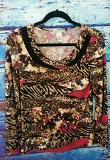 Vintage Suzie animal print long sleeve stretchy blouse size S small