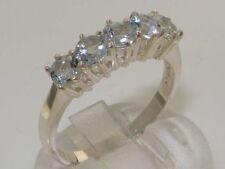 Natural Aquamarine Round White Gold Fine Gemstone Rings