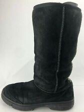 UGG Australia Winter Boots Ultimate Tall Braid Black Shearling Wool Womens US 10