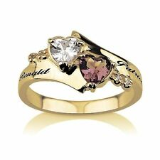 Promise Ring Engraved Ring 18k Gold Plated Birthstone Ring Heart Ring