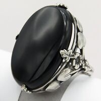 Vintage Arts & Crafts Art Deco Sterling Silver Natural Onyx Solitaire S 6.5 Ring