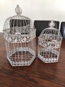 Set Of 2 Shabby Chic Metal Bird Cage Tea Light Home Decor Hexagonal 45cm&35cm