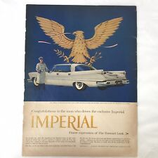 1957 Chrysler Imperial 4dr htp Automobile Car Vintage Magazine Print Ad