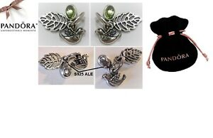 PANDORA Forest Trinity Charm (Retired) Silver & Peridot - 791214PE - In Pouch