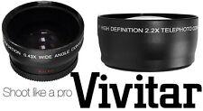 2-Pc Hi Def Telephoto & Wide Angle Lens Set for Panasonic HC-WXF991 HC-VX981