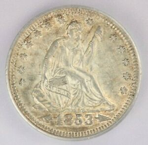 1853 Arrows and Rays Liberty Seated Quarter ICG AU58