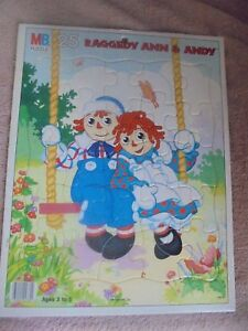 Vtg 11.5 x 14.5 Raggedy Ann & Andy Swing 25 pc Tray Puzzle Milton Bradley Cmplte