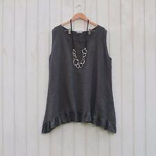 Ladies Lagenlook Plus Size Tunic Top Linen Boho Vest 16 18 20 22 24 26 8723