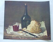 Antiguo impresión C1940'S bodegón Pan Nature Morte Vintage Art Faber Chardin