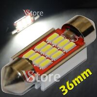 2 LED Festoon 36mm 12 SMD 4014 Canbus Xenon Lampade Luci BIANCO Interno Targa 5W