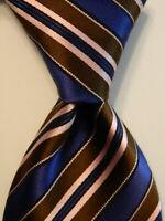 ERMENEGILDO ZEGNA Men's Silk Necktie ITALY Luxury STRIPED Blue/Brown/Pink EUC