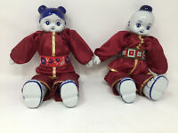 Asian Boy & Girl Dolls Porcelain Head Hands Feet Thailand