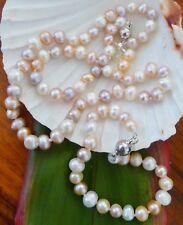 MIXED FRESHWATER  PEARLS SET. Necklace 46 cm,Bracelet 19cm, Earrings 925 Silver