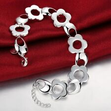 Charm Bracelet Chain Jewelery Gifts 925 Sterling Silver Filled Romantic Flower