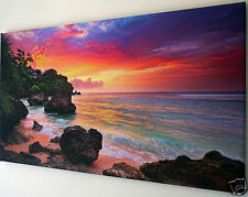 SUNSET  BEACH  OCEAN CANVAS PRINT WALL ART  PICTURE  18 X 32 INCH