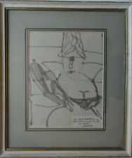EDUARDO ARROYO 1937-2018 RARE ORIGINAL SIGNED INK DRAWING COMIC PORTRAIT
