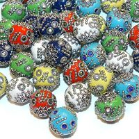 IB222 Assorted Color w Silver 15mm Round Indonesia-Style Metal Enamel Bead 10pc
