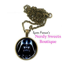 Vintage Style Darth Vader Star Wars Glass Cabochon Necklace - USA Stock