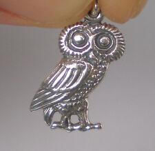 Owl Of Wisdom Small Silver Pendant - High Quality Item - Goddess Athena Symbol