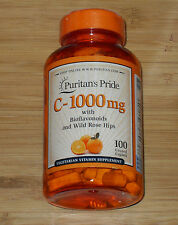Puritan's Pride Vitamin C-1000 mg with Bioflavonoids & Rose Hips 100 Caplets NEW